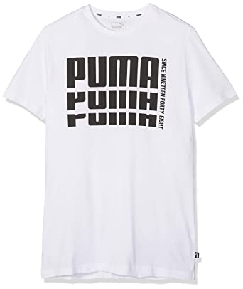 56f4b43ace8 Puma Boys' Rebel Bold Basic T-Shirt, White, 164 (EU) 852435: Amazon.ae
