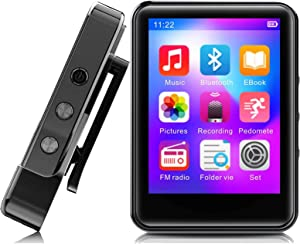 MP3 Player,32GB MP3 Player with Bluetooth5.0,Portable Music Player with FM Radio/Recorder,HiFi Lossless Sound Quality,2.4Inch Touch Screen Mini MP3 Player for Running,Metal Shell Black