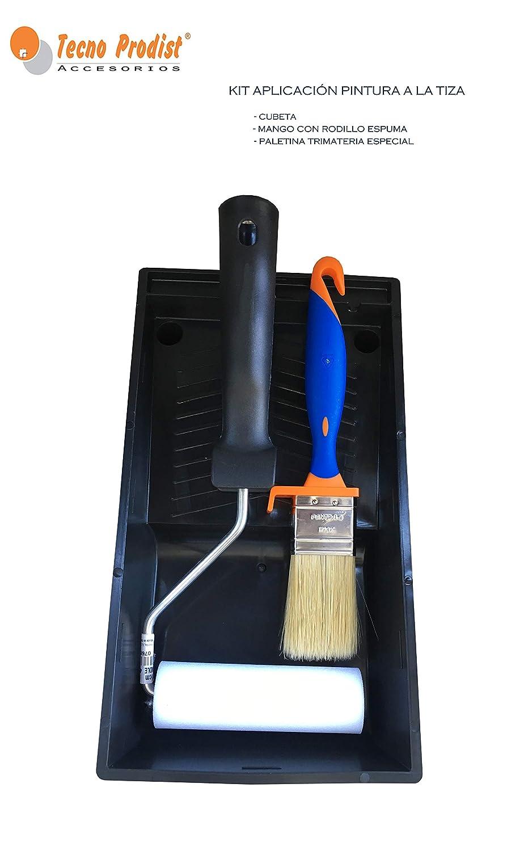 Ideal para pintar Muebles con Pintura al agua Efecto Tiza TECPINT KIT ACCESORIOS Mini Rodillo de Pintura con Cubeta y Pincel Rodillo 11 cm Brocha 40 mm Cubeta Plana 11 cm Calidad Profesional