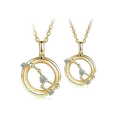 Adisaer Silber Paar Kette Herren Damen Halskette Gold Runde Großer Wagen  Diamant Kristall Anhänger Halskette Unisex c3eee1cd47