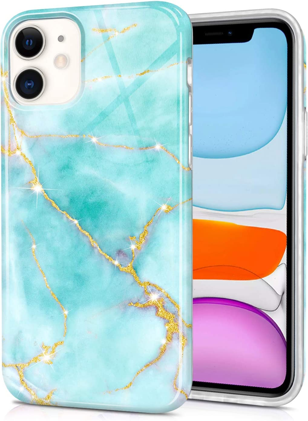 CAOUME Compatible with iPhone 11 Case (2019 Release) Light Green Marble Design Gold Sparkly Glitter Protective Stylish Slim Thin Cute Cases for Apple Phone (6.1