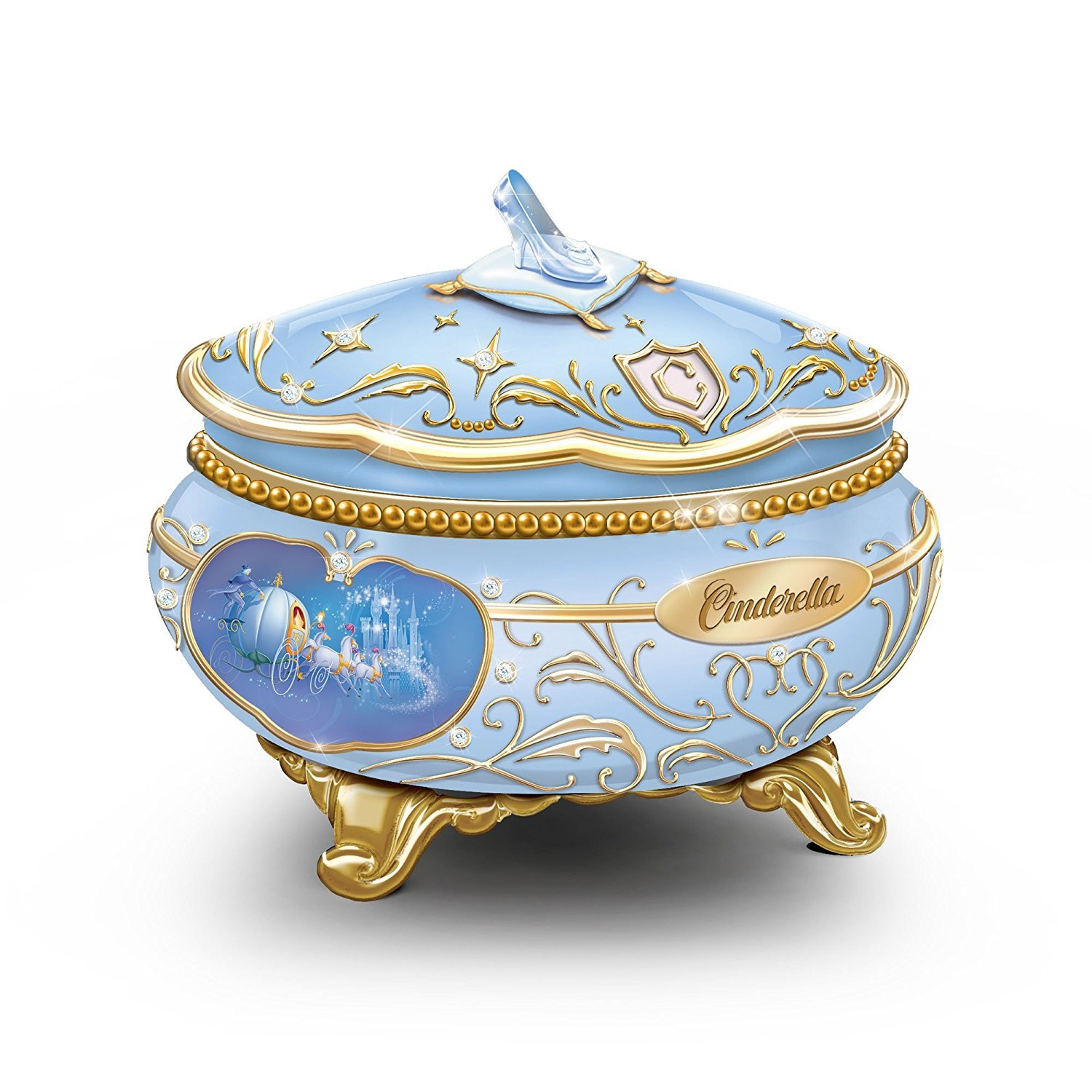 Disney Princess Cinderella Heirloom Porcelain Music Box with Dancing Characters by The Bradford Exchange by Bradford Exchange