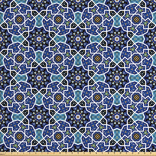 Ambesonne Moroccan Fabric by the Yard, Eastern Persian Gypsy Jacquard Style Arabic Culture Folk Tracery Geometric Image, Decorative Fabric for Upholstery and Home Accents, Royal Blue - Geometric Upholstery