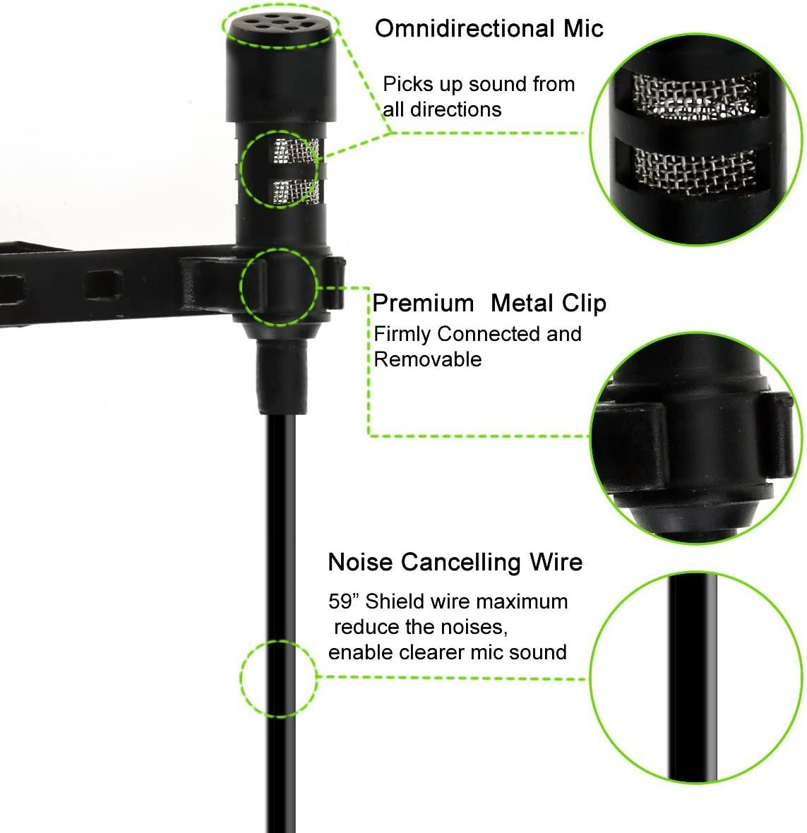 ForPeak Lavalier Lapel Microphone 3.5mm Omnidirectional Mic with Easy Clip for iPhone Android Recording//YouTube//Interview//Podcast//Studio//Video Conference