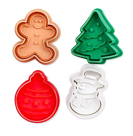 Internet S Best Mini Christmas Themed Cookie Cutter Set 4 Piece Plastic Winter Molds Spring Fondant Press Cake Decorating Tool Snowman