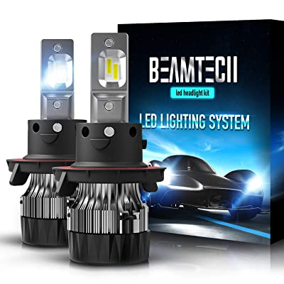 BEAMTECH H13 LED Headlight Bulbs,6500K 10000 Lumens Extremely Super Bright 9008 Hi/Lo 30mm Heatsink Base CSP Chips Conversion Kit,Xenon White: Automotive