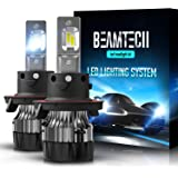 BEAMTECH H13 LED Headlight Bulbs,6500K 10000 Lumens Extremely Super Bright 9008 Hi/Lo 30mm Heatsink Base CSP Chips…
