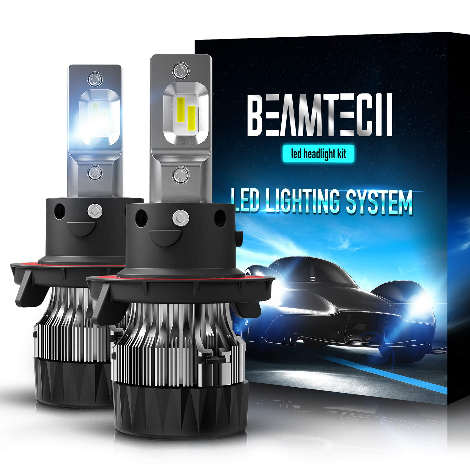 BEAMTECH H13 LED Headlight Bulbs, 6500K 10000 Lumens Extremely Super Bright 9008 Hi/Lo 30mm Heatsink Base CSP Chips Conversion Kit