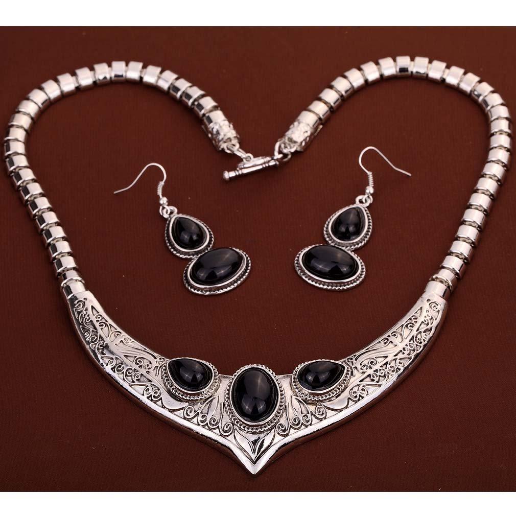 YAZILIND mal/del/negro/cristal/plateado/joyer/ía/collar/aretes