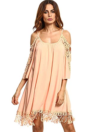 8c12e673532c0 Milumia Women's Summer Cold Shoulder Crochet Lace Sleeve Loose Beach Dress  Pink XS
