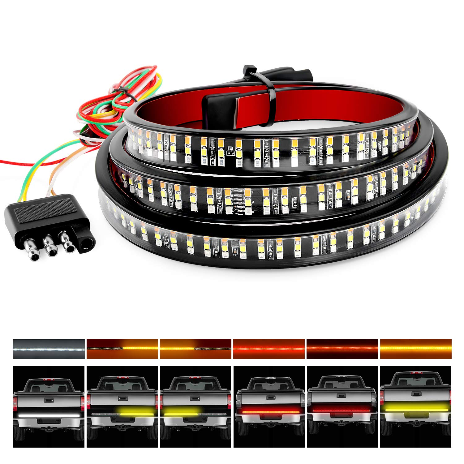 "Nilight TR-04 Truck Tailgate Bar 60"" Triple Row 504 LED Strip with Red Brake White Reverse Sequential Amber Turning Signals Strobe Lights,2 Years Warranty"