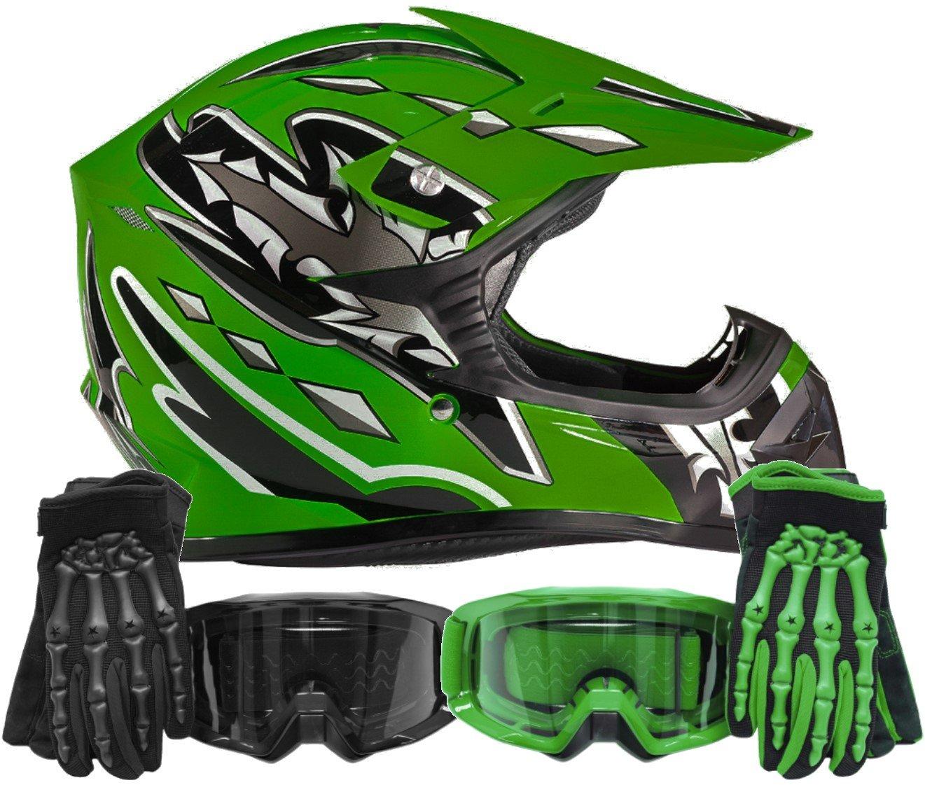 Typhoon Youth Kids Offroad Gear Combo Helmet Gloves Goggles DOT Motocross ATV Dirt Bike Motorcycle Green Black Small