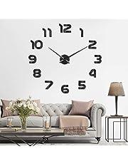 SOLEDI Mute DIY Reloj de Pared, 3D Reloj Pared Adhesivos, Sin Marco Tamaño Grande Reloj, Decoración Ideal para la Casa Oficina Hotel Restaurante, 2 Años de Garantía(Negro)