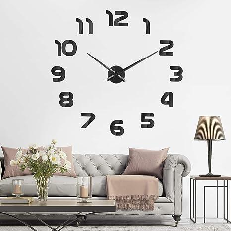 f5ad6f9dd8e7 SOLEDI Reloj de Pared 3D DIY Reloj de Etiqueta de Pared Decoración Ideal  para la Casa