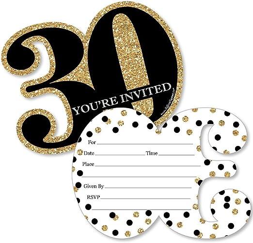 Amazon.com: Adulto 30 cumpleaños con forma de – oro – llenar ...