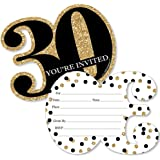 Adult 30th Birthday - Gold - Shaped Fill-In Invitations - Birthday Party Invitation Cards with Envelopes - Set of 12