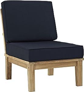 Modway Marina Premium Grade A Teak Wood Outdoor Patio Armless Chair, Natural Navy