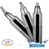 Nose Hair Trimmer, 3 in 1 Waterproof Nose Trimmer/Ear Hair Trimmer/Eyebrow Trimmer/Precision Detailer with LED Light, USB Charging Cable, Wet/Dry Use for Men&Women