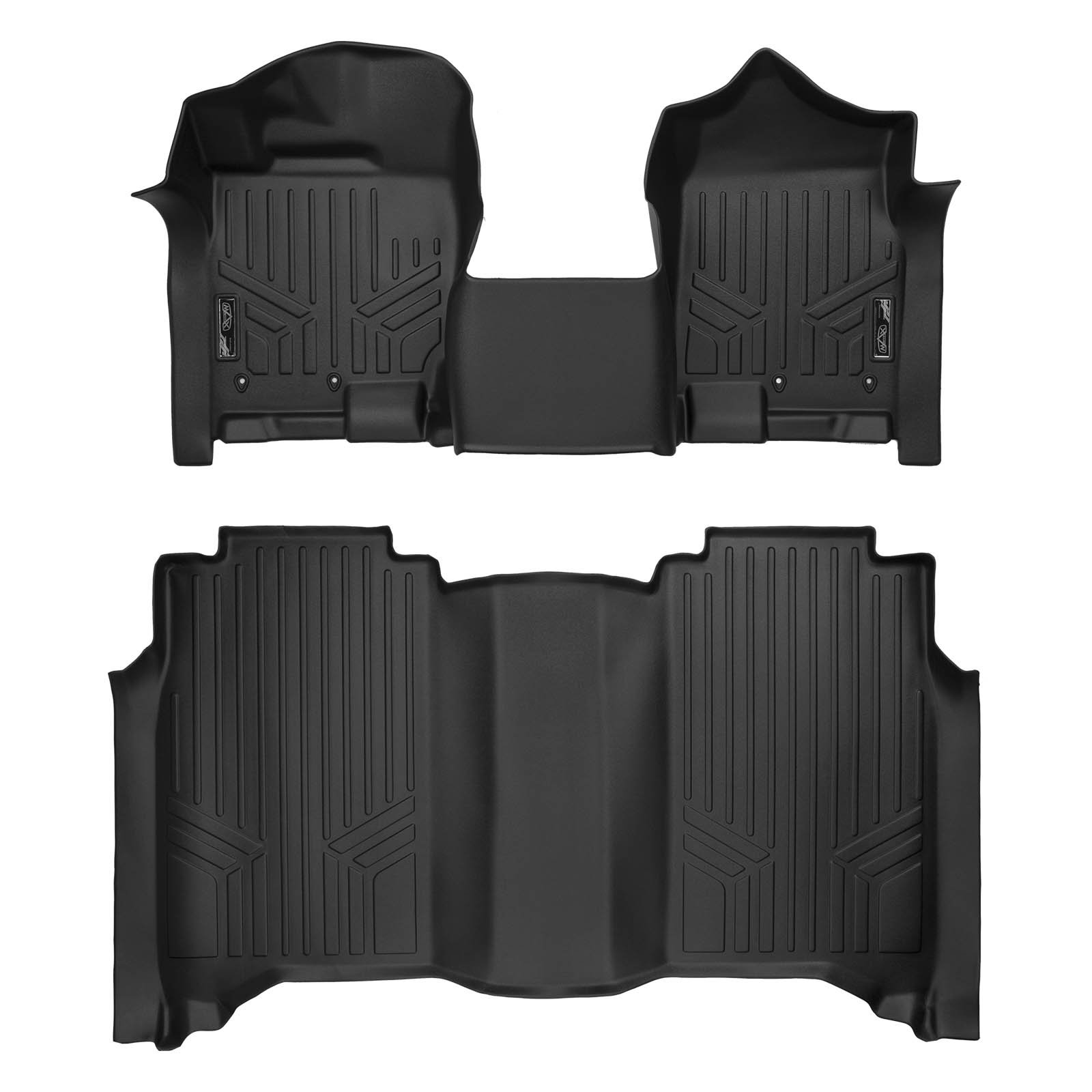 MAXLINER Floor Mats 2 Row Liner Set Black for 2017-2018 Nissan Titan / 2016-2018 Titan XD Crew Cab with 1st Row Bench Seat by MAX LINER