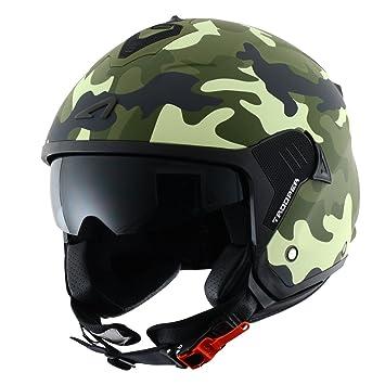 Astone Helmets Casco Jet Mini, diseño de soldado, color Verde, talla XS