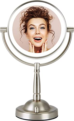 CO-Z Makeup Mirror with Lights, 8 Plug-in LED Lighted Magnifying Vanity Mirror 1x 8X Magnification, Double Sided Cosmetic Mirror