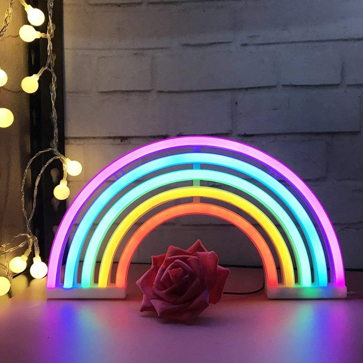 Rainbow LED Light Rainbow Neon Signs Rainbow Decor Kids Gifts,Battery or USB Operated Table LED Night Lights for Christmas,Girls Bedroom,Living Room,Party,Wall Decorations(Rainbow)