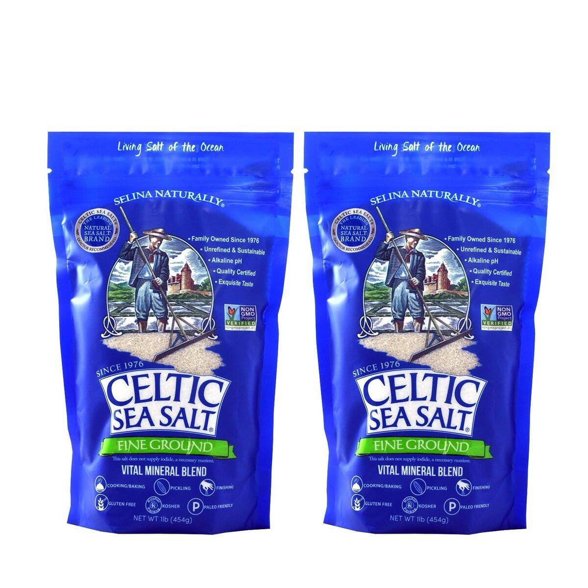 Celtic Sea Salt Resealable Bags, Fine Ground, 1 Pound, 2 Count