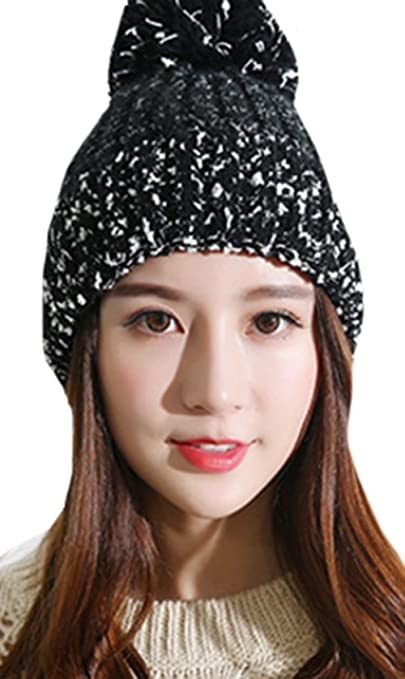 Sweet Lovely Mixed Color Knitting Wool Crochet Beanie Hat with Fur Ball  Women Warm Skully Headwrap Thick Winter Caps at Amazon Women s Clothing  store  b4a5d0f9bf3a