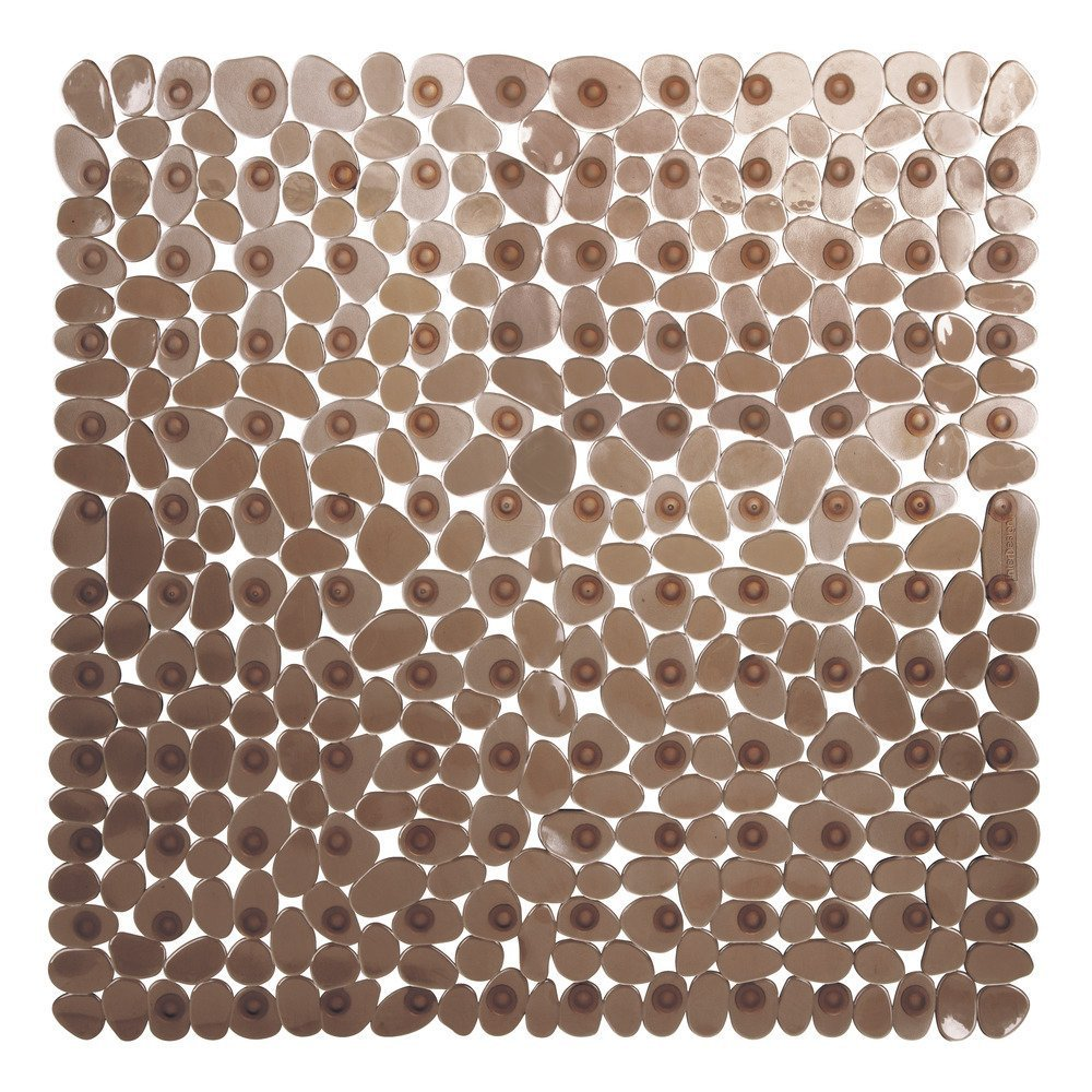Bathsafe Anti-slip Square Pebbles Shower Mat Extra Large Anti-Bacterial Safety Bath Mat Suction Mat for Shower or Tub,Non-slip Bathtub Mat,54x54CM,Brown Bathsafe Club