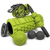 321 Strong 5 en 1 rodillo de espuma que incluye rodillo de masaje de núcleo hueco con tapas finales, barra de rodillo muscula