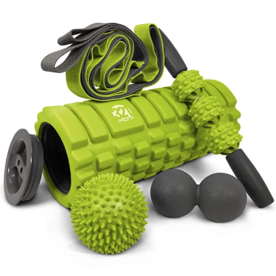5 In 1 Foam Roller Set Includes Hollow Core Massage Roller with End Caps , Muscle Roller Stick , Stretching Strap , Double Lacrosse Peanut , Spikey Plantar Fasciitis Ball , all in Giftable Box - Lime
