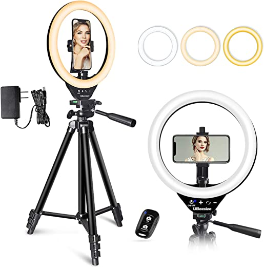10'' LED Ring Light with Stand and Phone Holder, Selfie Halo Light for Photography/Makeup/Vlogging/Live Streaming, Compatible with Phones and Cameras (SA-3120)