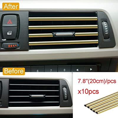 Royalfox 10pc Chrome PVC Car Air Conditioner Vent Outlet Trim Decoration Strip for Dodge,Jeep,Chrysler,BMW,Mercedes-Benz,Chevrolet,Buick,Volvo,Ford,Cadillac,Car Shiny Accessories for Women (Gold): Automotive