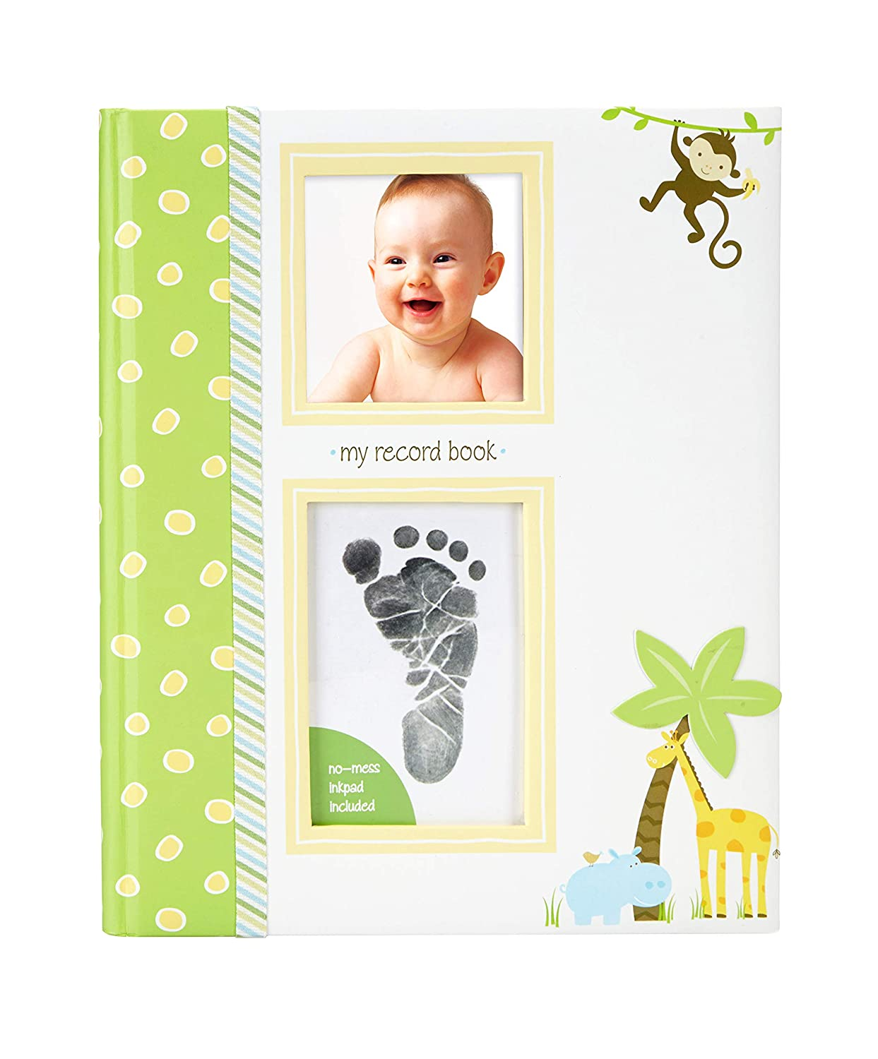 Lil Peach Safari Baby Five Year Memory Book with an Included Clean-Touch Ink Pad to Create Baby s Handprint or Footprint, Green