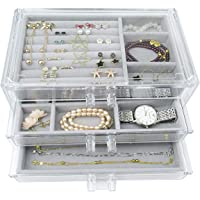 Acrylic Jewelry Box 3 Drawers, Velvet Makeup Organizer | Earring Rings Necklaces Bracelets Display Case Gift for Women…