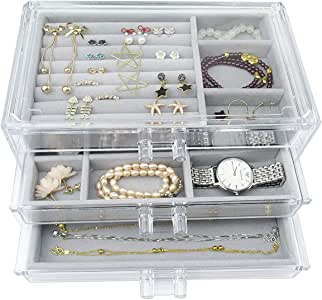 Acrylic Jewelry Box 3 Drawers, Velvet Makeup Organizer | Earring Rings Necklaces Bracelets Display Case Gift for Women, Girls