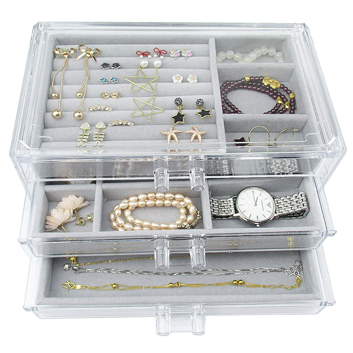 Acrylic Jewelry Box 3 Drawers, Velvet Jewellery Organizer | Earring Rings Necklaces Bracelets Display Case Gift for Women, Girls