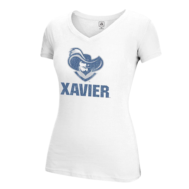 White J America NCAA Xavier Musketeers Womens Large Mascot Essential Tee Large