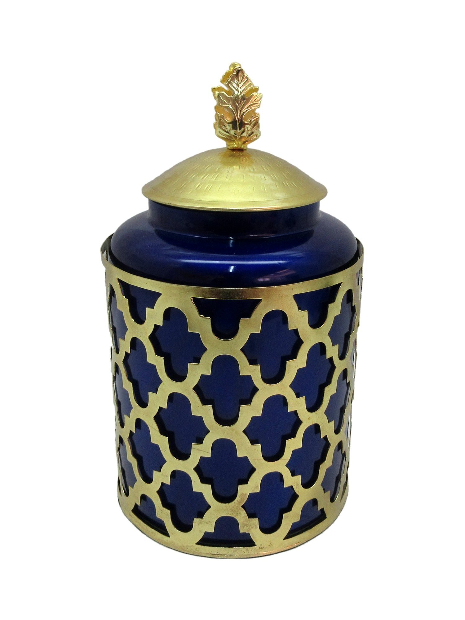 Beautiful Royal Blue Glass and Metal Cremation Urn, Memorial Adult Human Urn with Velvet Bag