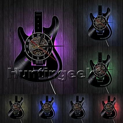 Reloj de pared guitarra eléctrica guitarra vintage disco de vinilo reloj Rock y Roll amante de