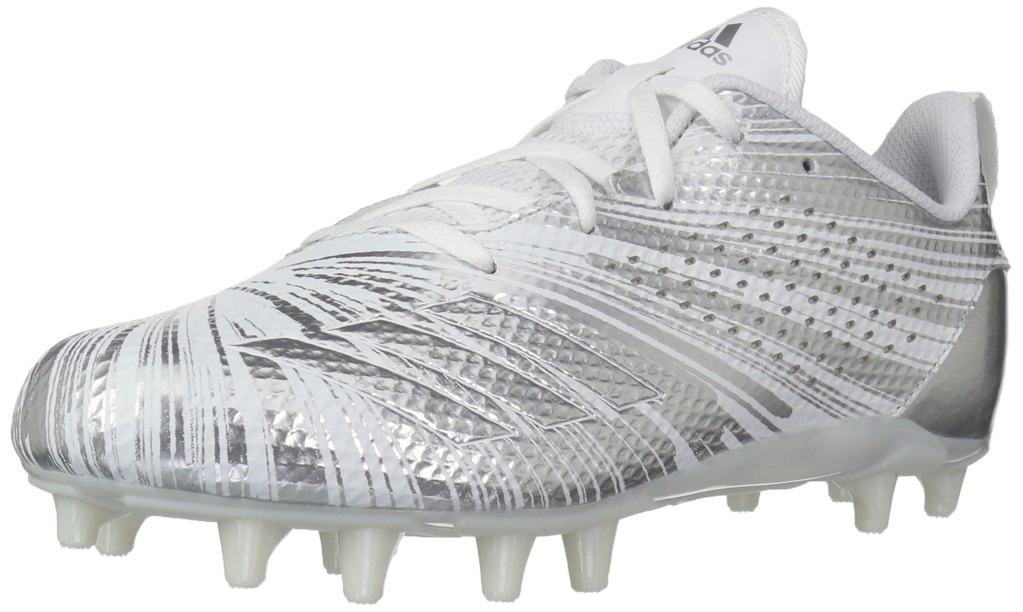 adidas Boys' Adizero 5.5Star 7.0 Football Shoe, Silver Metallic/White, 2.5 M US Little Kid