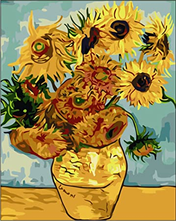 Tonzom Paint By Numbers Kits Diy Oil Painting For Kids Students Adults Beginner Sunflower By Van Gogh 16 X 20 Inch With Brushes And Acrylic