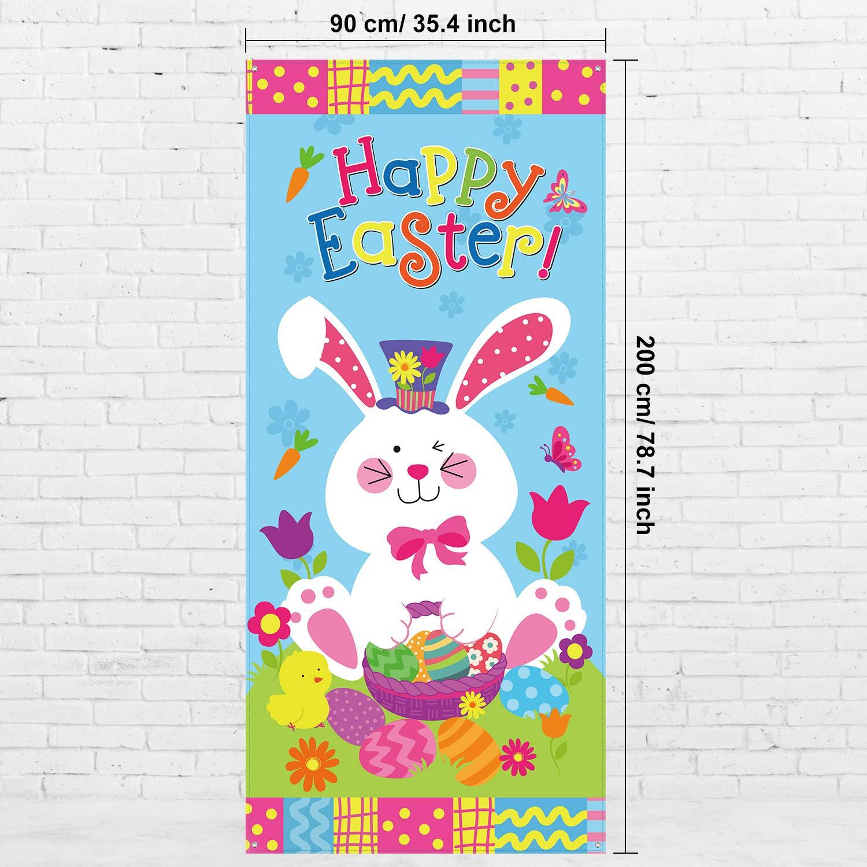 Blulu Cubierta de Puerta de Happy Easter de Conejito de Pascua de Grande Tela Accesorios de Fiesta de Bandera de Puerta de Pascua de Huevo Decoraci/ón Se/ñal Bandera de Colgante 78 x 35.4 Pulgadas
