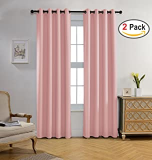 Miuco Blackout Curtains Room Darkening Curtains Textured Grommet Curtains  For Kids Bedroom Set Of 2 52x84