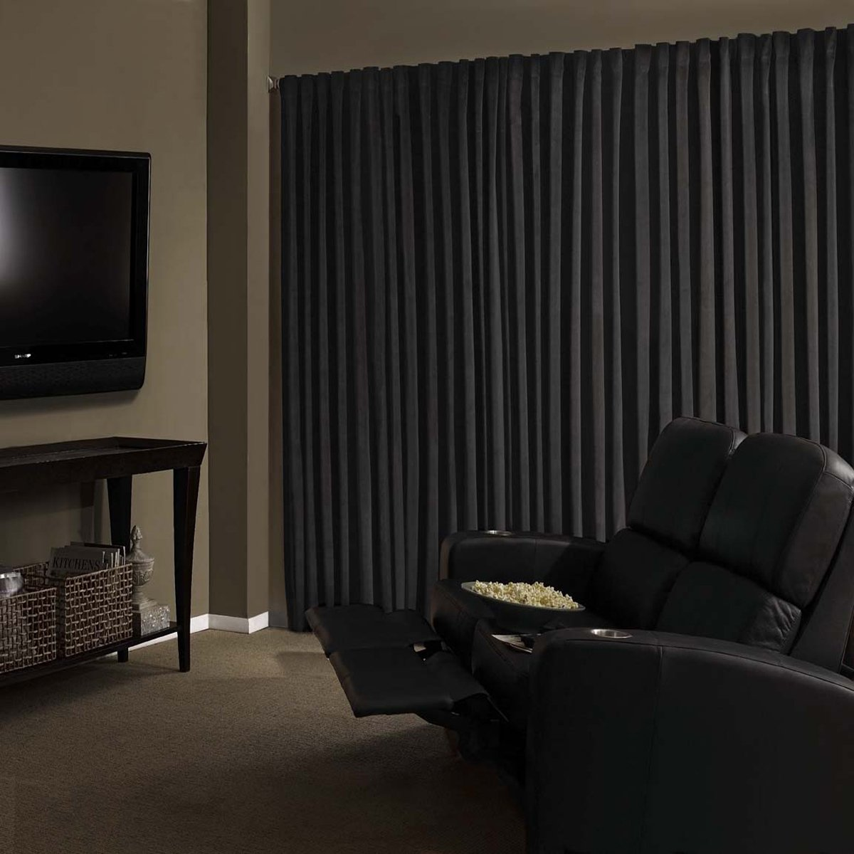 Black Curtains Part - 37: Amazon.com: Absolute Zero 11718050X084BK Velvet Blackout Home Theater  50-Inch By 84-Inch Single Curtain Panel, Black: Home U0026 Kitchen