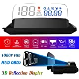 "HUD Display Car OBD2, 5"" FHD 1080P Gauge Head Up Display 3D Reflection 6 Mode ECU Datas Display Oil Temperature Coolant Tempe"
