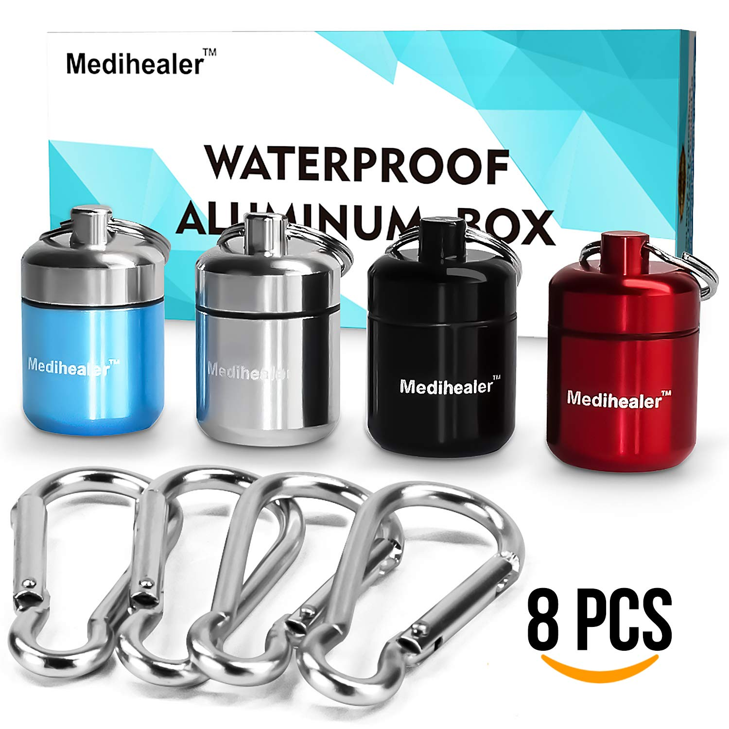 Waterproof Aluminum Pill Box with Keychain - Portable Travel Pill Case Drug Container for First Aid Medicine and Earplugs, Handy for Outdoor Travel Hiking Camping - (4 Cases + 4 Carabiners)