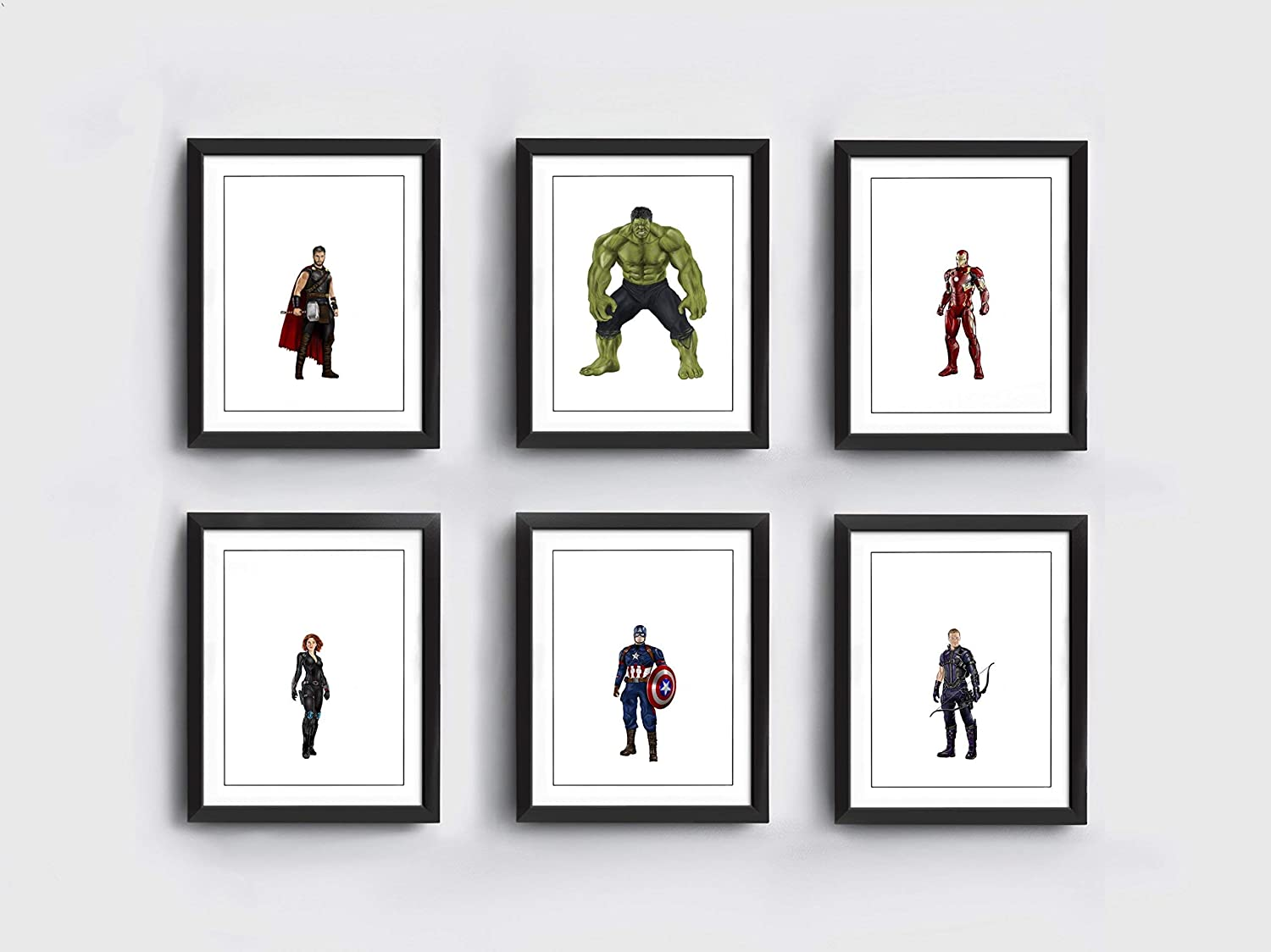 Avengers Art Prints | 10 x 8 inches | Thor | Hulk | Iron Man | Black Widow | Captain America | Hawkeye | Hand Drawn
