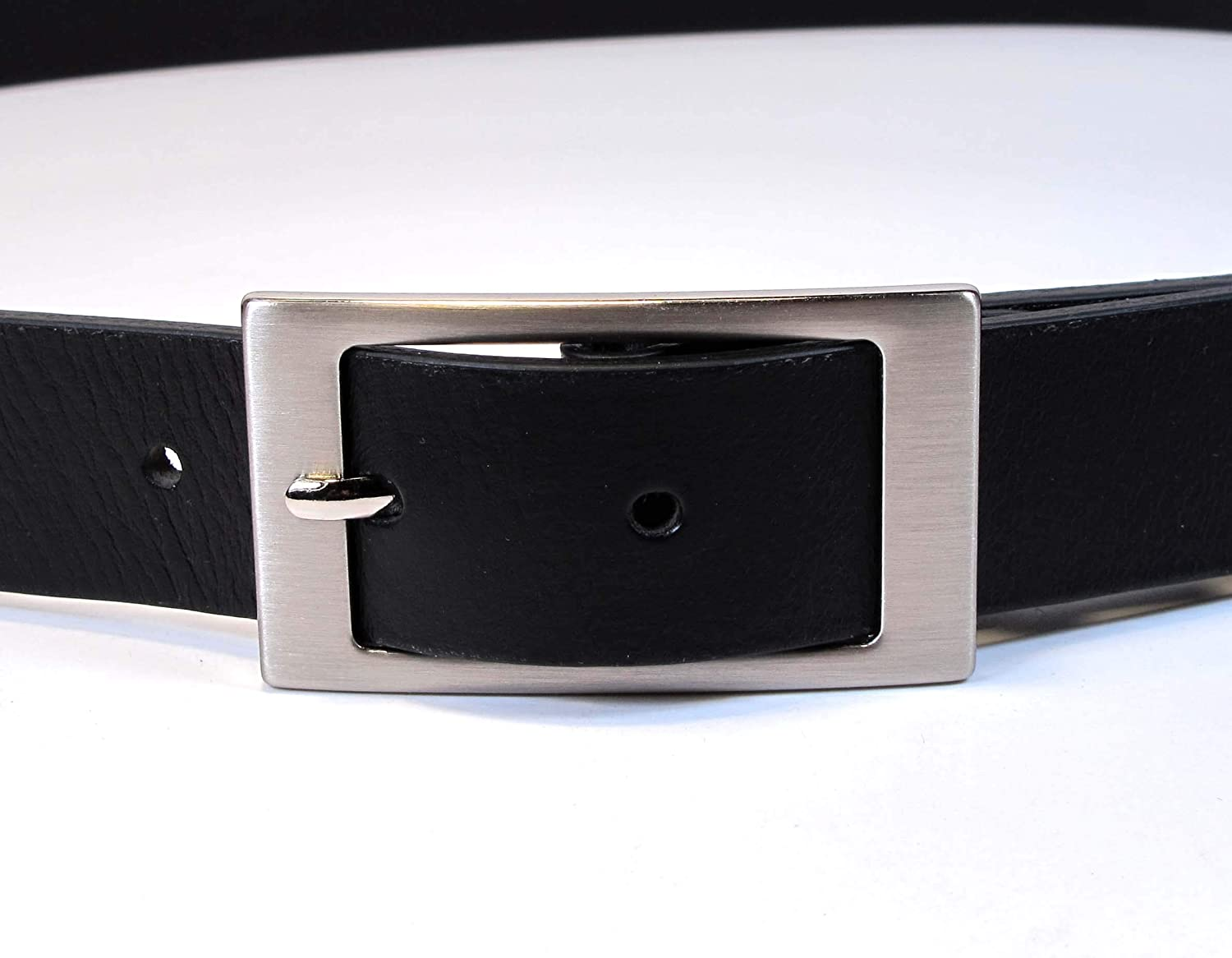 Mens Real Genuine Leather Black Belt 1.1 Wide S-L Thick Long Casual Jeans CM0