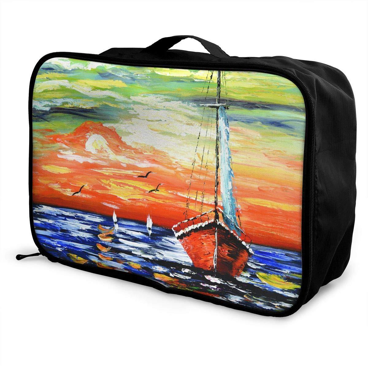 Travel Luggage Duffle Bag Lightweight Portable Handbag Sea Sailboat Large Capacity Waterproof Foldable Storage Tote